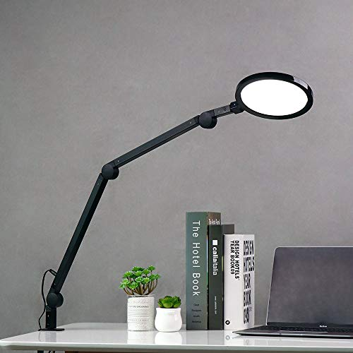 Desk Lamp, Eye-Care LED Desk Lamp, Eyocean 12W Architect Lamp with Clamp, Stepless Dimming & Adjustable Color…