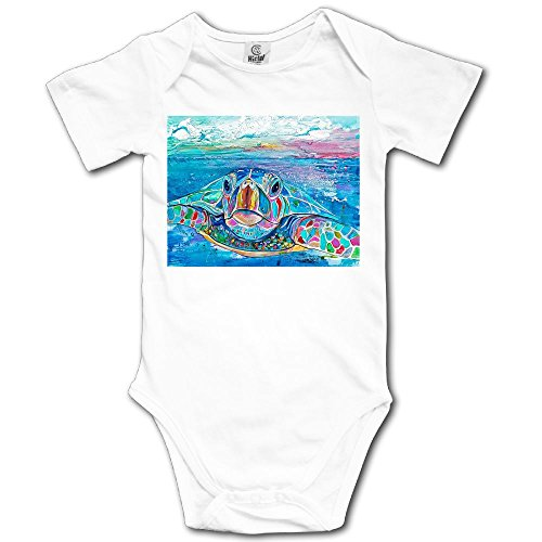 Unisex Baby's Climbing Clothes Set Sea Turtles Watercolor Bodysuits Romper Short Sleeved Light Onesies for 0-24 Months -