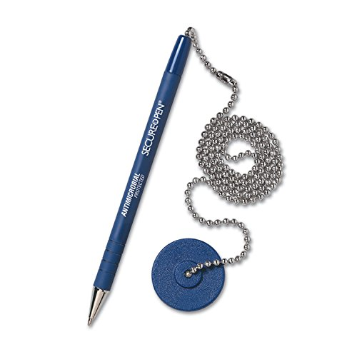 (MMF Industries 28908 Secure-A-Pen Ballpoint Antimicrobial Counter Pen with Base, Blue Ink, Medium)