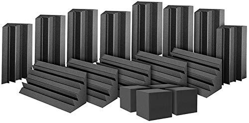 Auralex ATOM12CHA ATOM-12 Bass Trap Kit: 12- LENRD Bass Traps 12x12x17 Triangular and 2