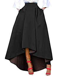 Women Solid High Waist High Low A-Line Maxi Skirt With Pocket