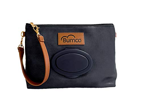 Bumco 2 in 1 Crossbody or Wristlet Diaper Clutch- Organize Diaper Bag Bookbag; Water Resistant Vegan Leather; Lightweight; Refillable Wipes Dispenser; Portable Changing Kit; Shower Gift (Black)