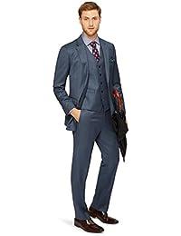 Men's Regular Fit Blue Sharkskin Jacket 38S