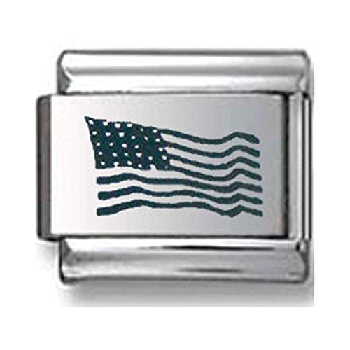 American Flag Laser Italian charm - American Flags Laser Charm