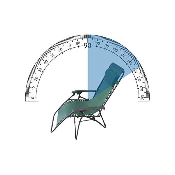Todeco Transat en Textilène de Jardin, Chaise Longue Inclinable, 165 x 112 x 65 cm, Vert, avec Coussin, Textilène, Charge maximale: 100 kg, Matériau: Acier