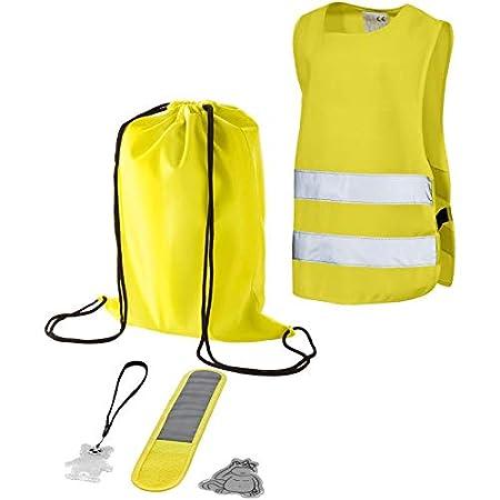 Kindersicherheitsset - Warnweste Kinder - reflektierendes Armband - Aufkleber & Anhänger & Rucksack - für Kinder zwischen 2 b