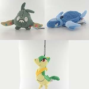 Colección de 3 Peluches Pokemon Servine Tirtouga Trubbish (B)