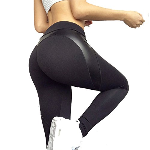 Lokouo 2018 Leggings Reflective Love Yoga Breathable Slim Pants,Black,M by LOKOUO Pants (Image #1)