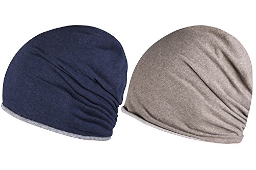 JIERKU brown winter beanie mens cotton winter hat cute winter hats Light Brown+Navy (Brown Cotton Beanie)