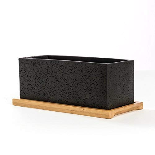 Nattol 8.5 inch Pot Rectangle Planter with Tray, Cement Pot Planter/Succulent Black Pot/Mini Cactus Holder with a Removable Bamboo Saucer Tray (Black)… by Nattol (Image #1)