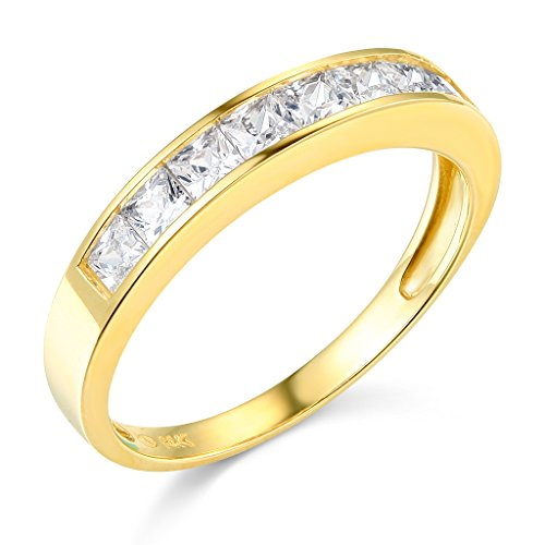 TWJC 14k Yellow Gold SOLID Channel Set Wedding Band - Size 8