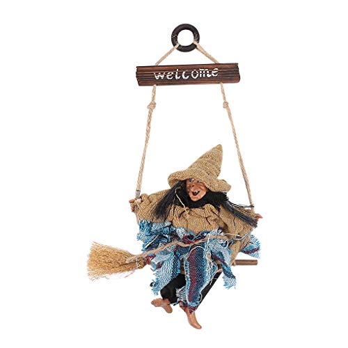 Hanging Animated Witch on Broomstick Halloween Decoration Dolls Pendant Haunted House Decorate Props KTV Bar Restaurant Door Indoor Outdoor Decor Hanged Wizard Welcome Figure (Witch with Yellow -