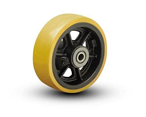 10-x-4-Vulkollan-Tread-on-Cast-Iron-Wheel-1-14-Tapered-Bearings