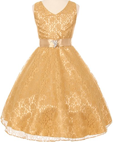 gold and cream flower girl dresses - 6