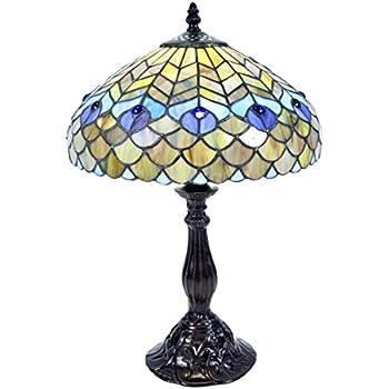 Whse Of Tiffany P400490 Tiffany Style Peacock Table Lamp Amazon Com