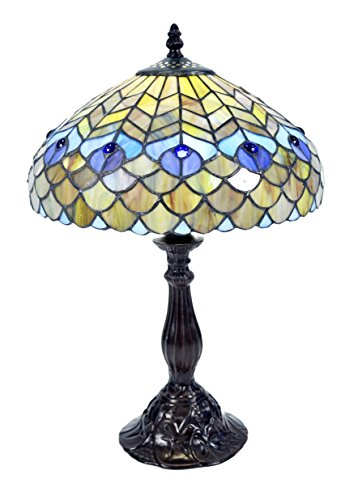 Whse of Tiffany P400490 Tiffany-Style Peacock Table Lamp