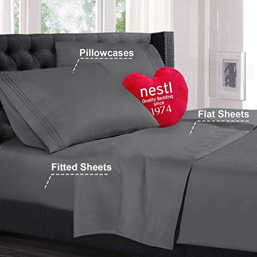 King Size Bed Sheets Set Gray highest quality Bedding Sheets Set on Amazon 4 Piece Bed Set deeply pant pockets Fitted piece 100 Luxury tender Microfiber Hypoallergenic Cool Breathable