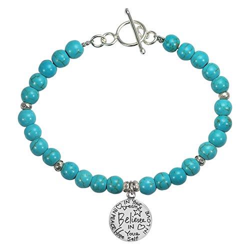 (AeraVida Simulated Turquoise 'Believe' Inspirational Message .925 Sterling Silver Pendant Link Bracelet)
