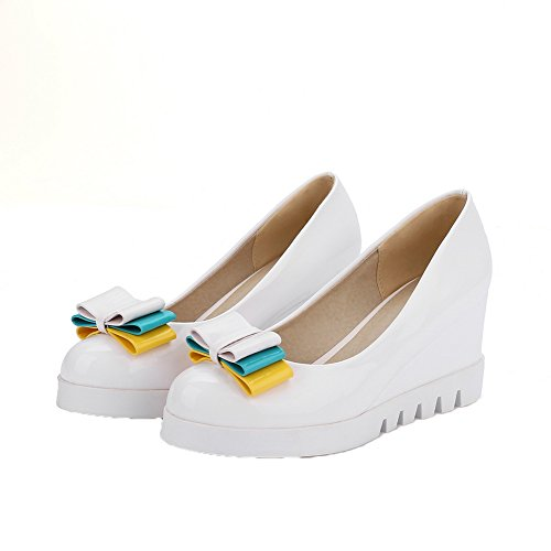 Allhqfashion Mujeres Pu Pull-on Round-toe Kitten-heels Solid Bombas-zapatos Blanco