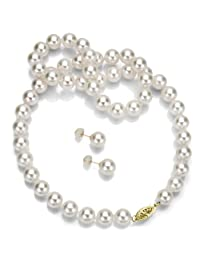 "14k Gold Round Handpicked AAA White Japanese Akoya Cultured Pearl Necklace 18"" and Stud Earrings Set"