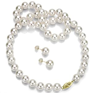 14k Yellow Gold 9-9.5mm White Japanese Akoya Cultured AAA Pearl Necklace 17