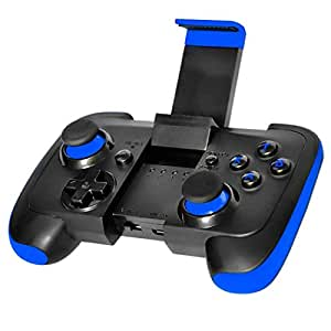 Android Controller Ultra Thin Bluetooth Gamepad with Bracket for Android Phone/Tablet/TV Box/VR Devices/Emulator - Black Blue