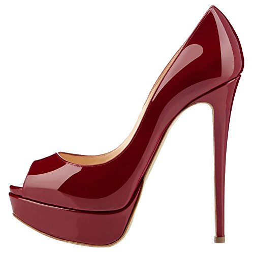 (MERUMOTE Women's Aahe Stiletto Heel Platform Peep Toe  Burgundy Patent Leather  Dress Pumps - 7.5 B(M) US)