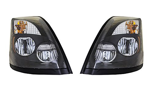 - Volvo VNL VNM VNX Black LED Headlights Headlamp Pair DOT SAE 82329124 82329127