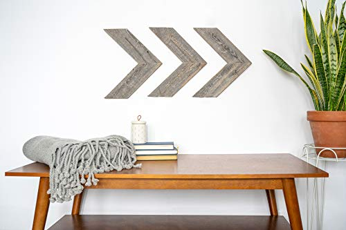 e Wood Arrows for Wall - Set of 3 Rustic Chevron Arrows Made from 100% Reclaimed and Recycled Wood | Comes with Mounting Hardware ()