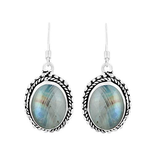 Natural Oval Shape Rainbow Moonstone Bohemian Style Dangle Earrings 925 Silver Overlay Handmade Jewelry For Women Girls