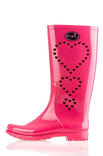 Mei 3 Hearts Perforated Ladies Wellies Wellington Rain Boots Pink oBbEk5z