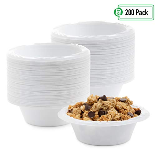Blue Sky 237-2 12 oz white disposable plastic bowls, heavy duty plates. 200 per pack, 12 Oz White Plastic Bowl