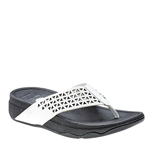 Fitflop Leather Lattice Surfa - Sandalias Mujer Urban White