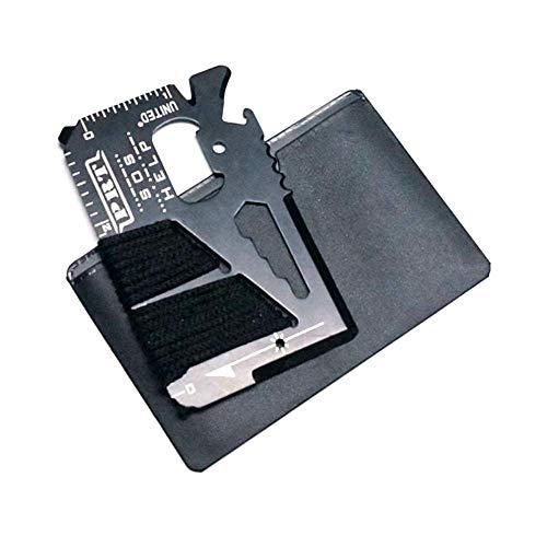 Pocket tool kit - Multitool Set - Credit Card Multi Tool - 14 Tools in 1 Stainless Steel Card - Pocket Knife with Leather Sleeve - Survival Tool Set - ()