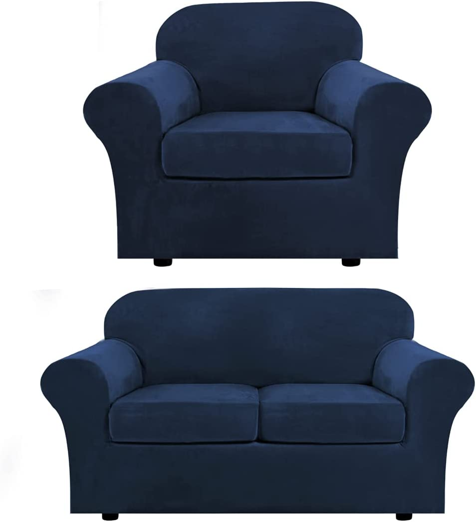 Velvet Plush Armchair Cover Bundles Loveseat Cover for 2 Cushion Couch, Furniture Protector, Ultra Soft, Removable and Washable,Navy