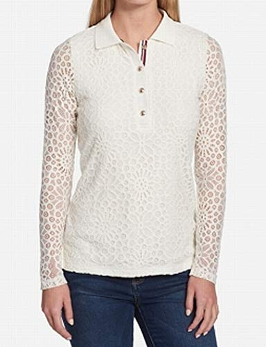 (Tommy Hilfiger Women's Long Sleeve Lace Polo Top (Ivory, Large))