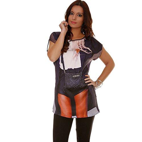 Miss Wear Line - Tshirt satinée avec motif sac en strass et dos noir