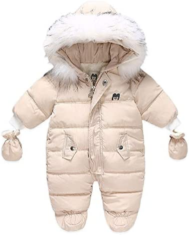 Xifamniy Baby Winter Snowsuit Coat Romper Outwear Hoodied Footie Toddler