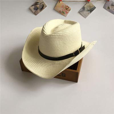 Fashion Warm Comfortable Hats for Women Home New summer big boy boy straw hat child cool hat jazz hat boy cowboy hat beach sun hat parent-child (Color : Milk white)
