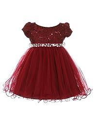 Baby Girls Burgundy Sequin Stone Lace Short Sleeve Christmas Dress 6-24M