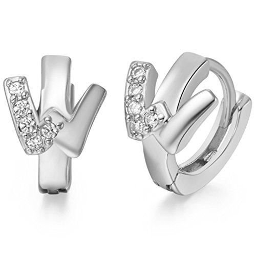 FENDINA Women's Jewelry 18K Gold Plated Cubic Zirconia W Initial Letter Alphabet Personalized Huggie Earrings
