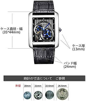 メンズスクエア腕時計 自動巻き トゥールビヨン シルバーケース ブラック本革ベルト ビジネス時計 [並行輸入品]