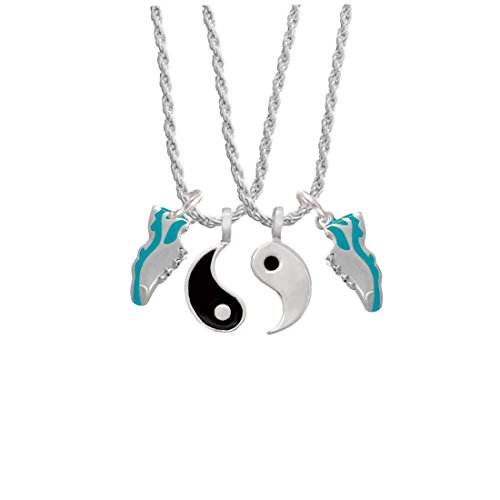 (Running Shoe Teal Yin Yang Necklace Set,)