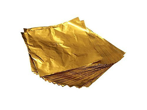 Elandy 100PCS 10×10CM Gold Embossing Aluminum Foil- Square Sweets Candy Chocolate Lolly Paper Aluminum Foil Wrappers -