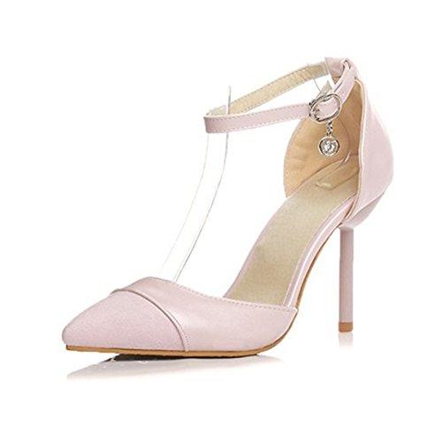 DIMAOL Chaussures Pour Femmes PU Printemps Automne Nouveauté Confort Talons Talon Chaussures Bottines/Boots Buckle Lace-Up Pour Office & Carrière,Rose,Parti US8.5/EU39/UK6.5/CN40