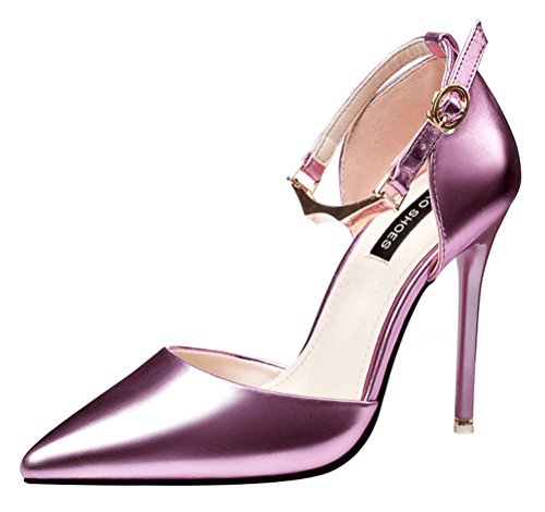 T&Mates Womens Fashion Pointed Toe Ankle Strap Adjustable Buckle Stiletto High Heel Cut Out Pumps (7.5 B(M) - Metro Fashion Locations