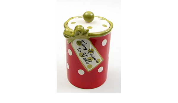 Christmas Goody Jar Ceramic Cookie Container With Rubber Lid Wide Mouth Food Treats Holder Kitchen Dining Centerpiece Accent Xmas Gift Box Ideas Amazon Ca Home Kitchen