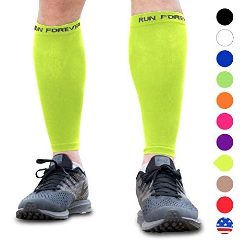 (Calf Compression Sleeve - Leg Compression Socks for Shin Splint, Calf Pain Relief - Men, Women, and Runners - Calf Guard for Running, Cycling, Maternity, Travel, Nurses (Neon Yellow, Small))
