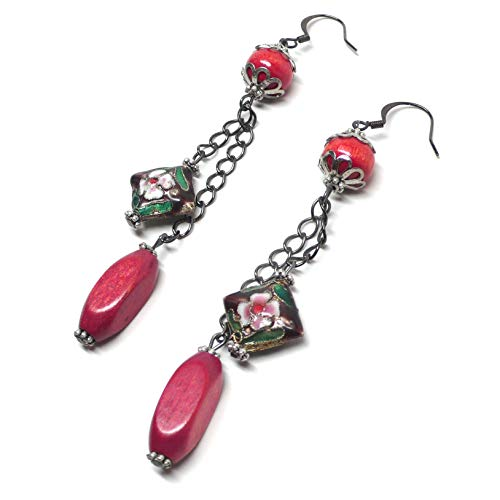Fuchsia Wood Purple Chinese Cloisonne Enamel Earrings Gunmetal Chain
