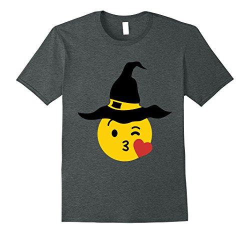 Mens Emoji Halloween Group Costume Heart Kiss Smile Witch XL Dark (Halloween Town Kiss)